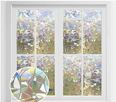 rabbitgoo Window Privacy Film, Rainbow Window Clings, 3D Decorative Window Vinyl, Stained Glass Window Decals, Static Cling Window Sticker Removable Non-Adhesive UV Blocking