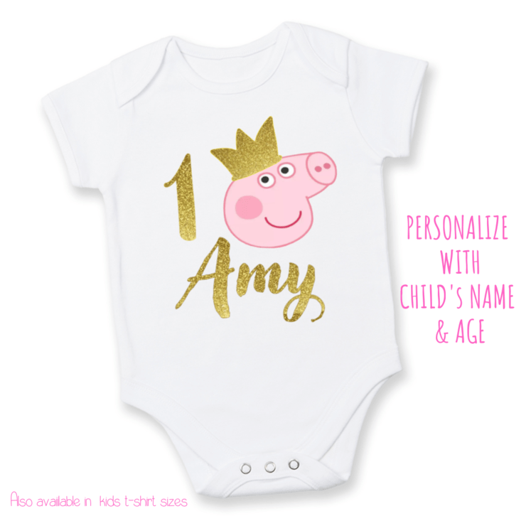 Personalised Peppa Pig 1st Birthday Baby Grow Personalise With Baby S Name Grower Bodyvest Baby Clothes Baby Birthday Outfit First Birthday Girl Peppa Pig Birthday Theme Hello Pretty Buy Design