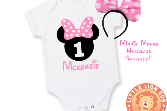 Personalised Minnie Mouse First Birthday Outfit 1st Birthday Minnie Mouse Baby Grow Baby Birthday Outfit Minnie Mouse Pink Bow Hello Pretty Buy Design