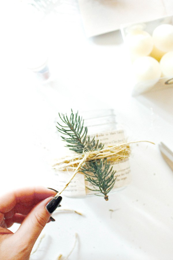 Rustic Christmas Candle DIY - 2