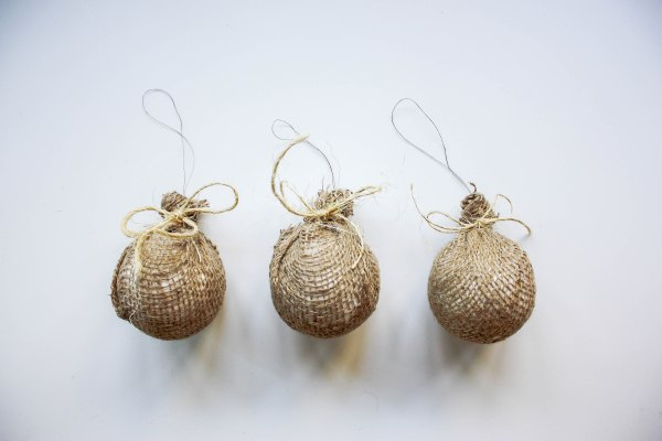 Burlap Tree Ornaments - 6