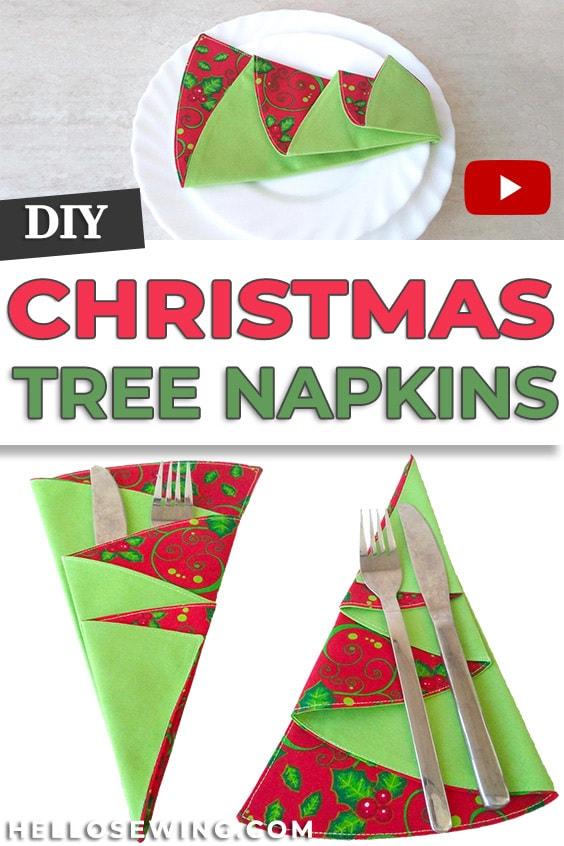 Easy Christmas Tree Napkins DIY Sewing Tutorial