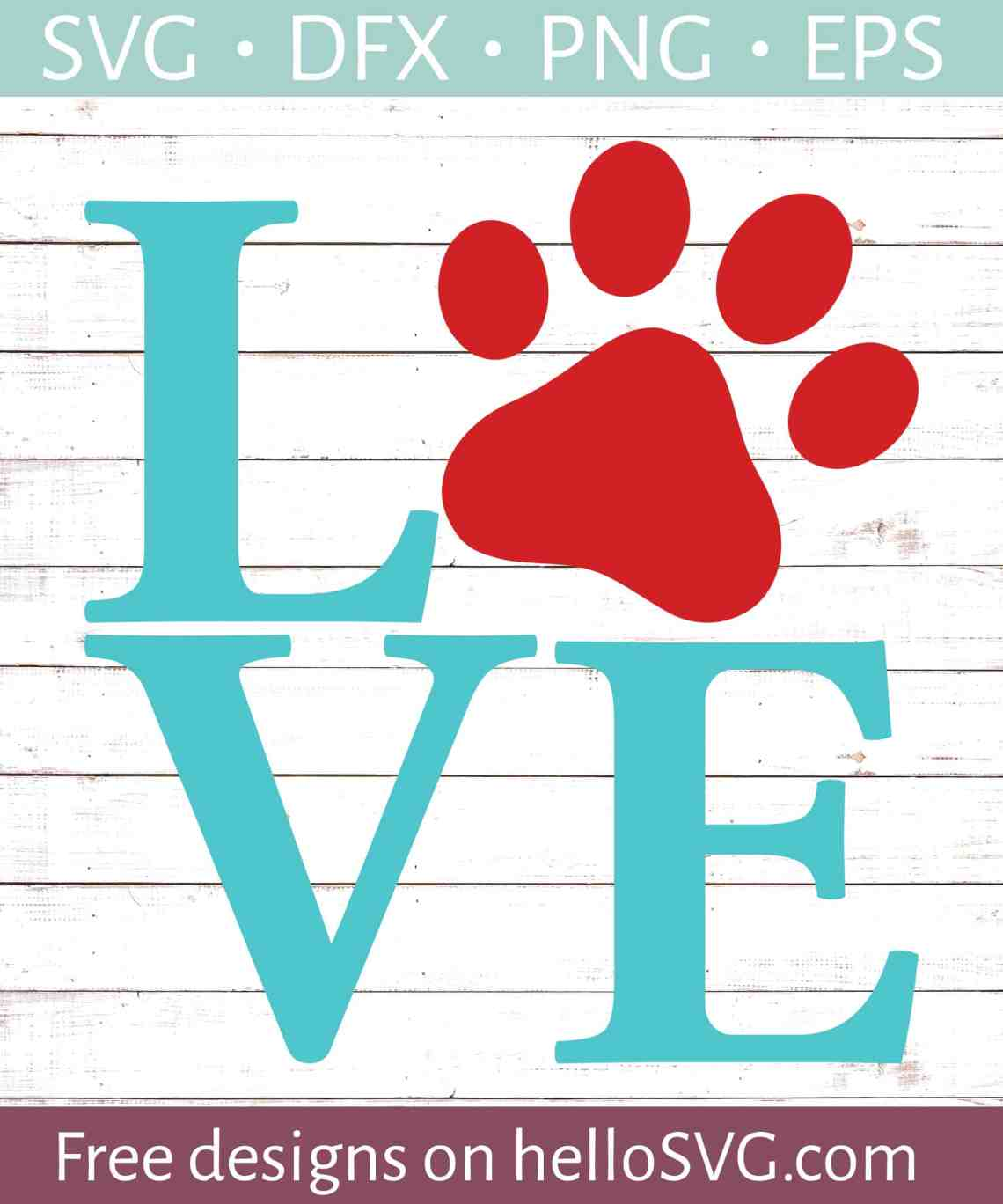 Download LOVE with Paw Print #1 SVG - Free SVG files | HelloSVG.com