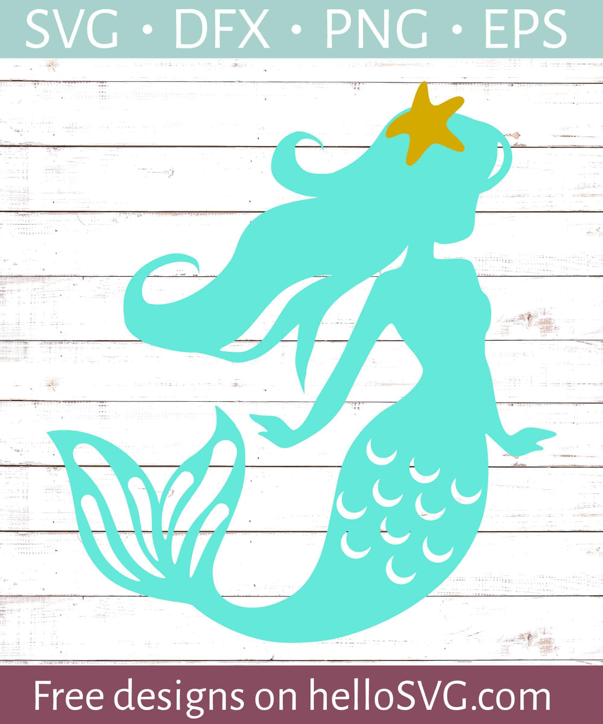 Download Starfish Mermaid SVG - Free SVG files | HelloSVG.com