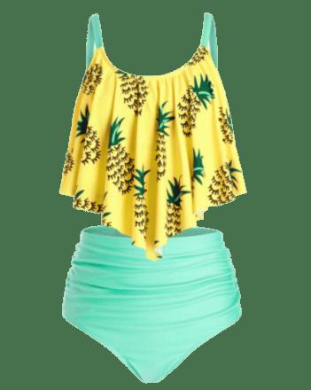 RoseGal plus size pineapple tankini