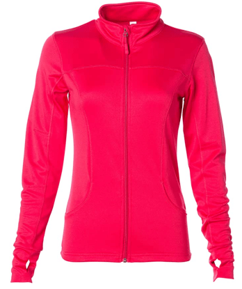 Global Blank Women's Slim Fit Lightweight Full Zip Up Yoga Workout Jacket