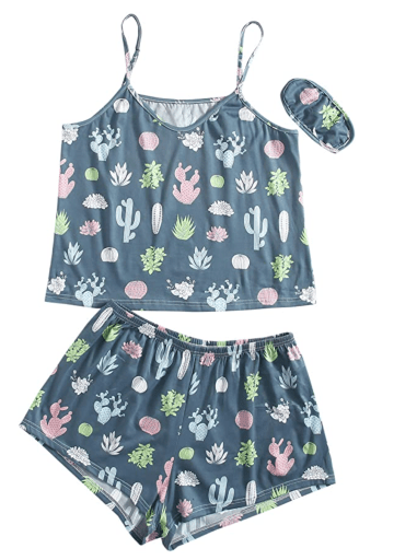 Floerns Women's Plus Size Cherry Print Cami Top and Shorts Pajama Sets | 1X-5X