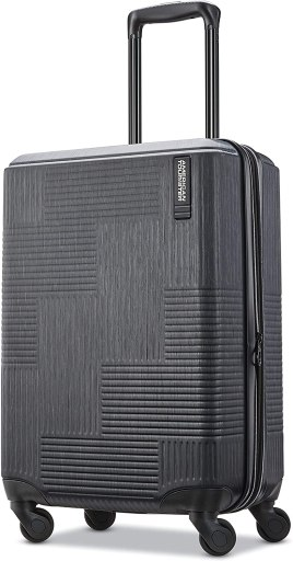 American Tourister Stratum XLT Expandable Hardside Luggage with Spinner Wheels, Jet Black, Carry-On 21-Inch