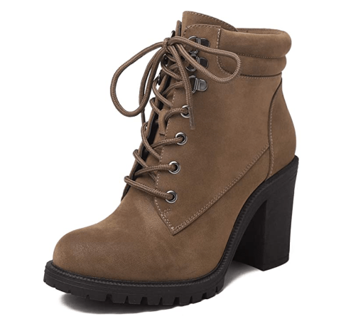 Sivellya Ankle Booties Lace Up Casual High Heel Boot