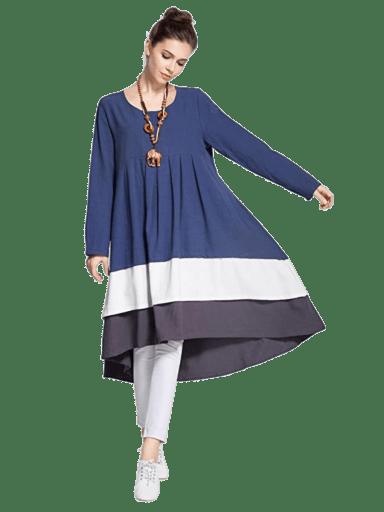 Anysize Tri-Colored Linen Dress | M - 5X
