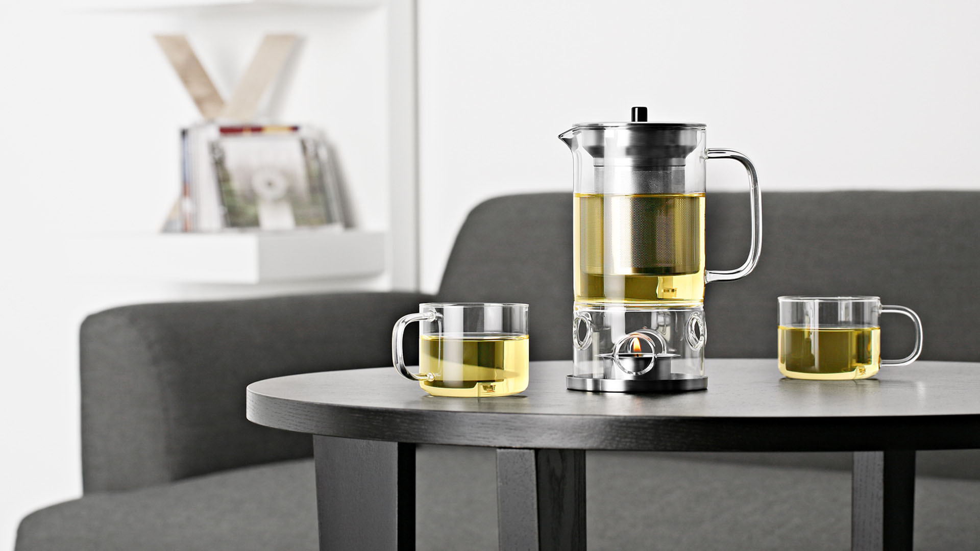 glass teapot infuser with warmer