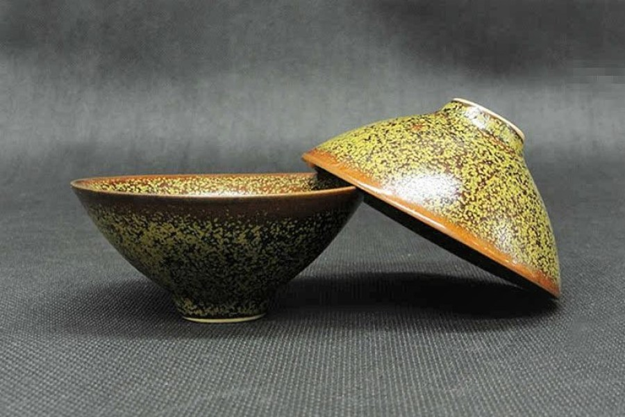 Bamboo hat shaped teacup