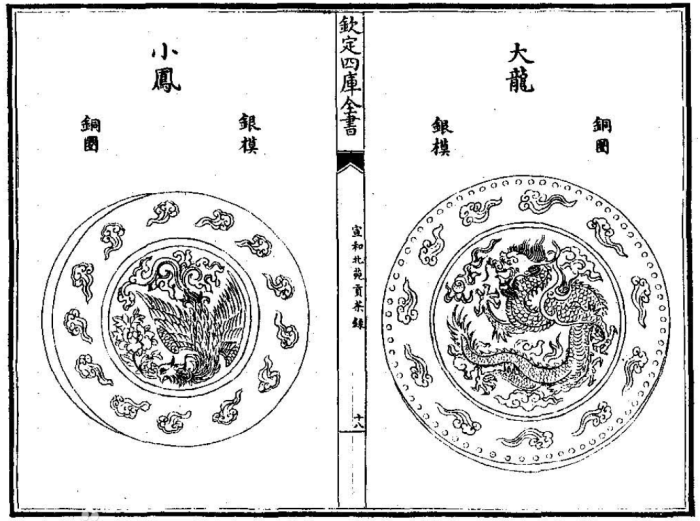 "Sketches of the dragon phoenix tea cakes from the Song dynasty tea book ""On the tribute tea from the Beiyuan Gardens during the Xuanhe reign"""