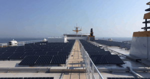 Zonnepanelen op de nieuwe veerboot Texel