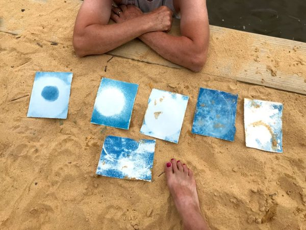 Making cyanotype photograms with my family on the banks of the Bohemia River