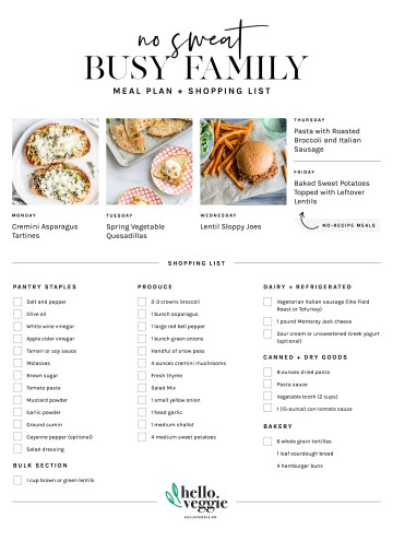 No-Fuss Meal Plan: 5 Fresh, Simple Dinners + A Printable Shopping List