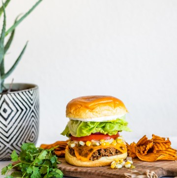 Black Bean Chipotle Veggie Burger with Summer Corn Relish | HelloVeggie.co