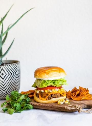 Black Bean Chipotle Veggie Burger with Summer Corn Relish | HelloVeggie.co