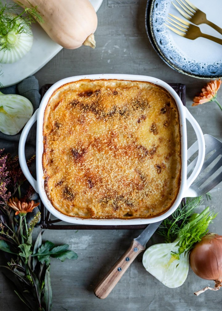Butternut Squash Gratin with Caramelized Fennel and Gruyere