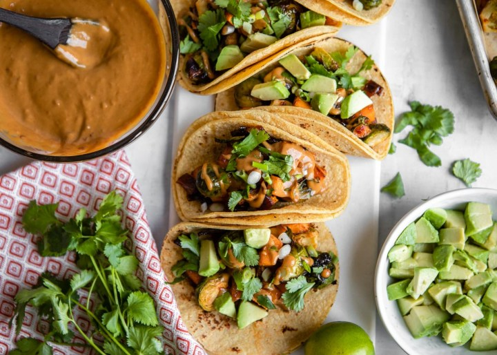 Sweet Chili Vegetable Tacos with Tangy SunButter Sauce | HelloVeggie.co
