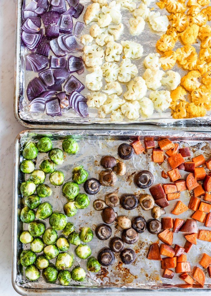 Roasted Winter Vegetable Kabobs with Sesame Tahini Dipping Sauce and Sriracha Mayo