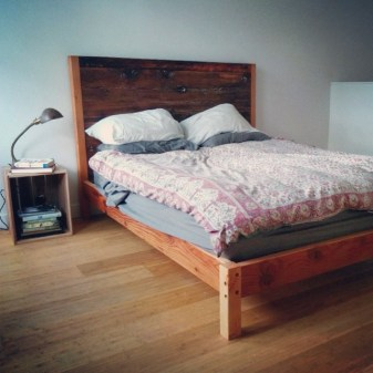 Basic Bedframe with Headboard in Reclaimed Fir - Thick Horizontal Plank # 8