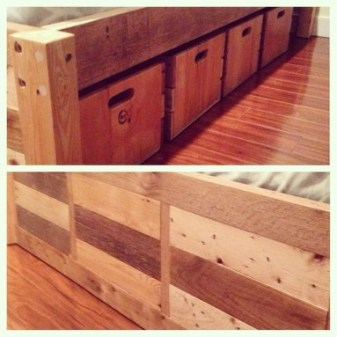 Basic Bed Frame with 4x4 Post Ends + Crate Drawers with Slot Handles # 5