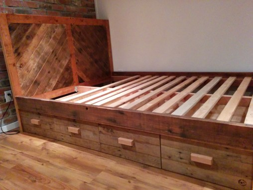 Platform Bed with Side Drawers + Block Handles + Split Chevron Headboard # 2