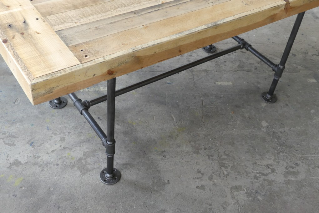 Harvest Table with End caps + Pipe Leg Base