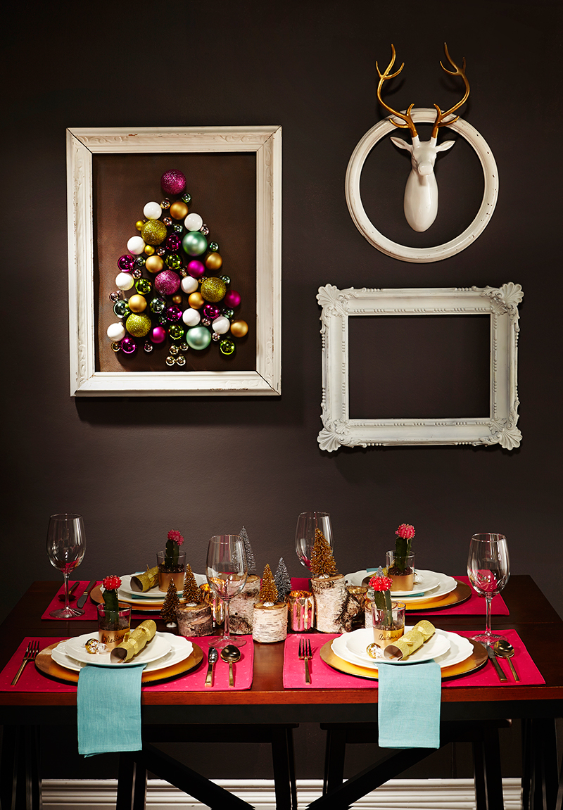 DIY Framed Ornament Tree Art #LeonsHelloHoliday