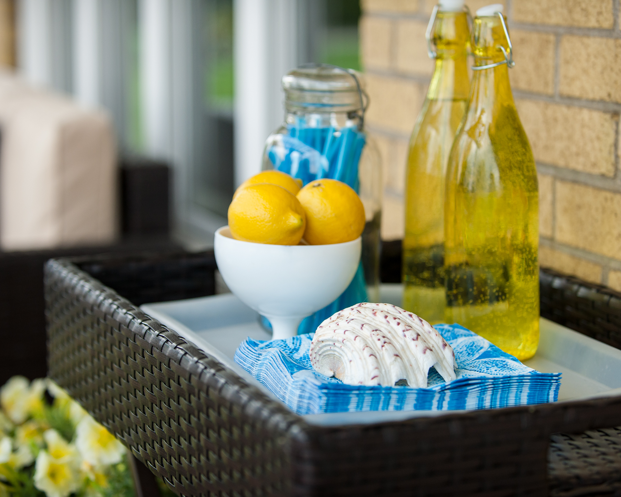 patio coffee table adorned with fruit