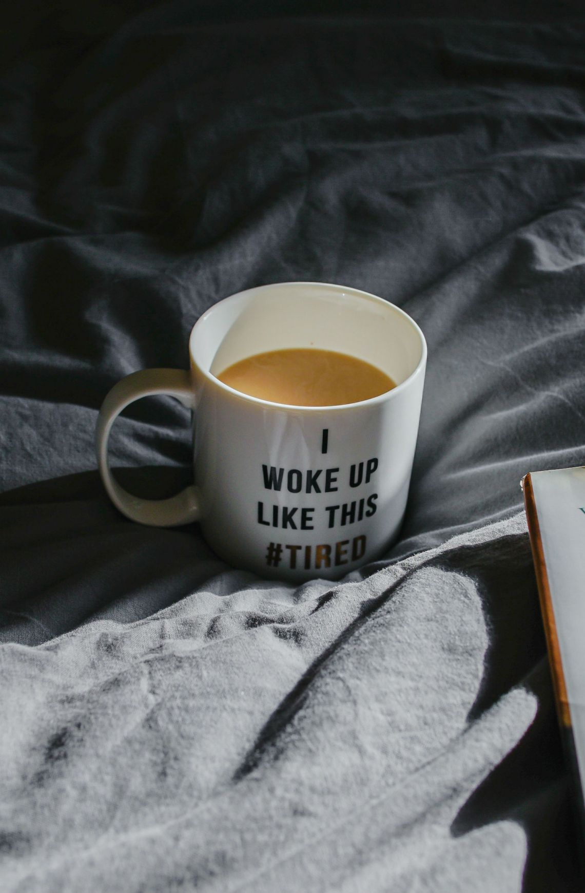 "the worst sleep, coffee mug that says ""I woke up like this #tired"""
