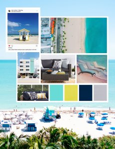 Miami insta mood board, featuring beachy blues, warm yellow and a soft grey