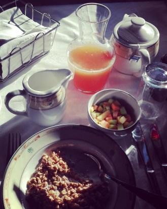 Muesli and fruit salad breakfast