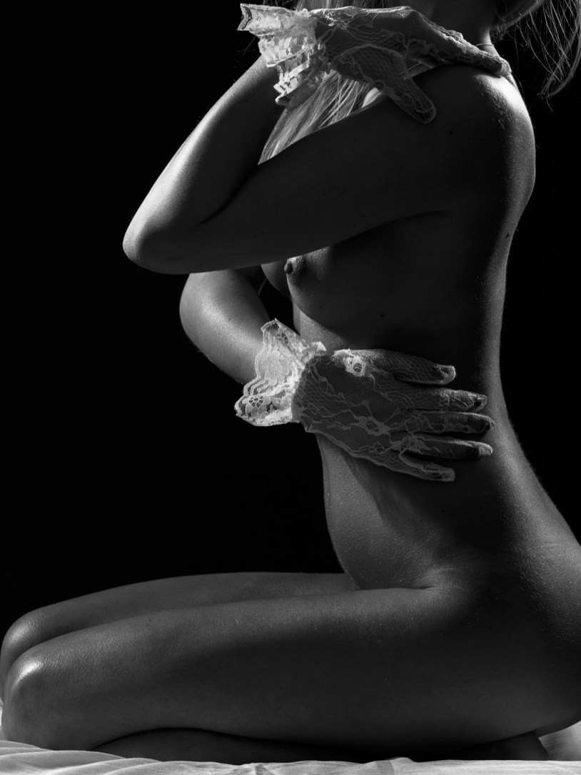 Nude art, white lace, bodyscapes, HelmerFoto