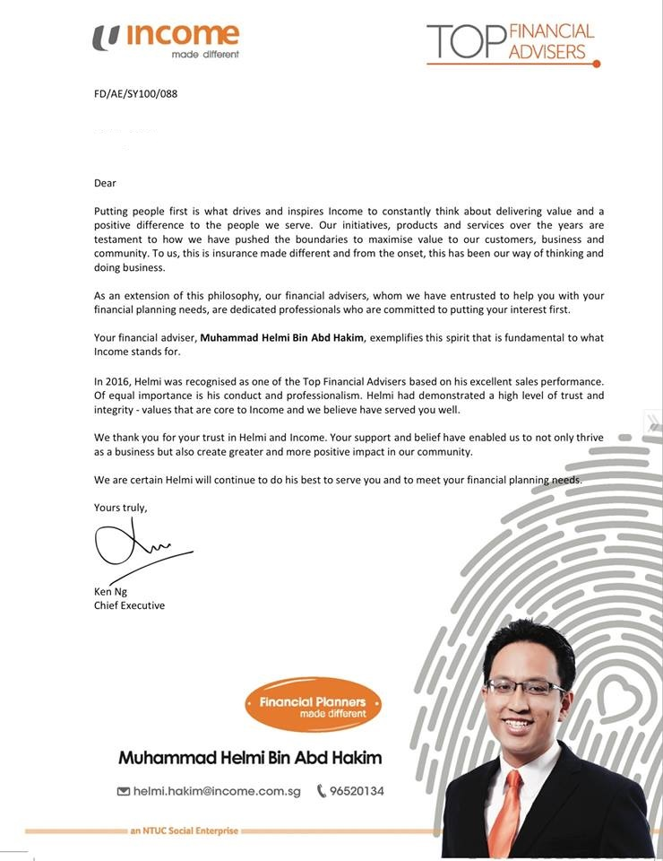 Helmi Hakim, one of the top financial advisors in NTUC Income…