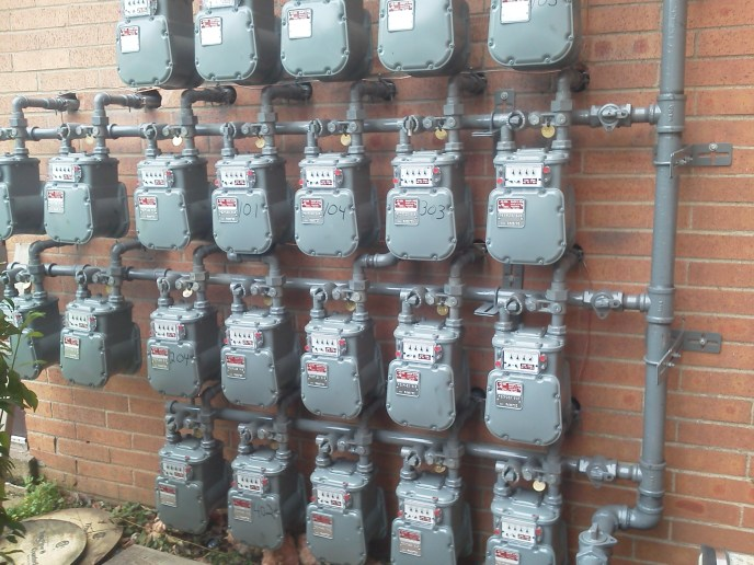 22 gas meters commercial building