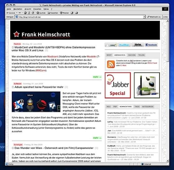 IE6 für Mac OSX
