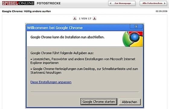 Spiegel Online Fotostrecke zu Google Chrome