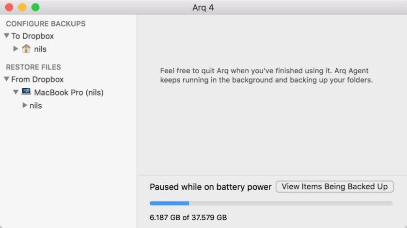 Arq Backup App OS X