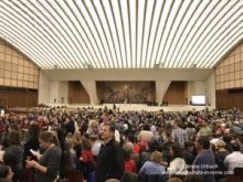 pilgrims at papal audience in Rome