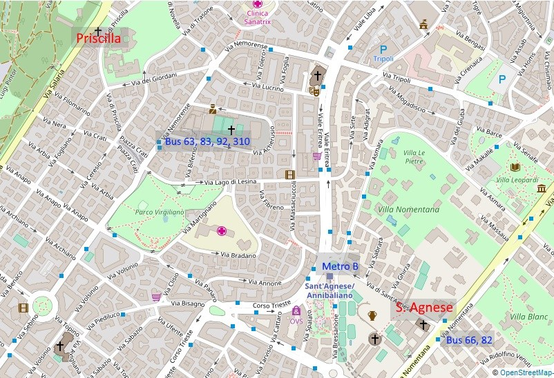 Map catacombs Rome north