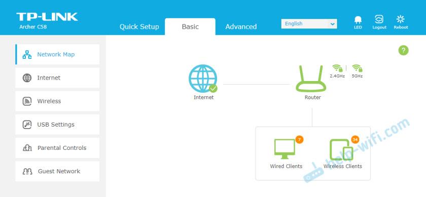صفحه جدید با تنظیمات روتر TP-Link