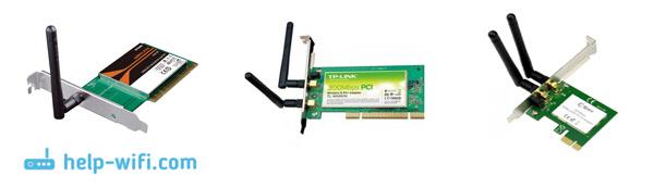 Fotó: Belső PCI adapterek a Wi-Fi-hez való csatlakozáshoz