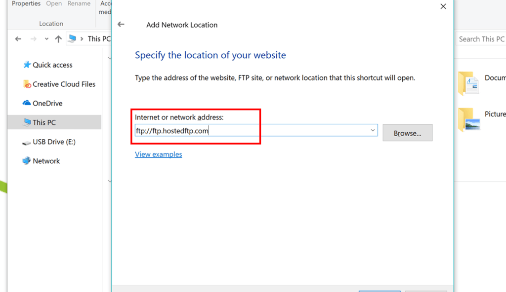 Add Network Location Windows 10/8/7 | Hosted~FTP~ Help