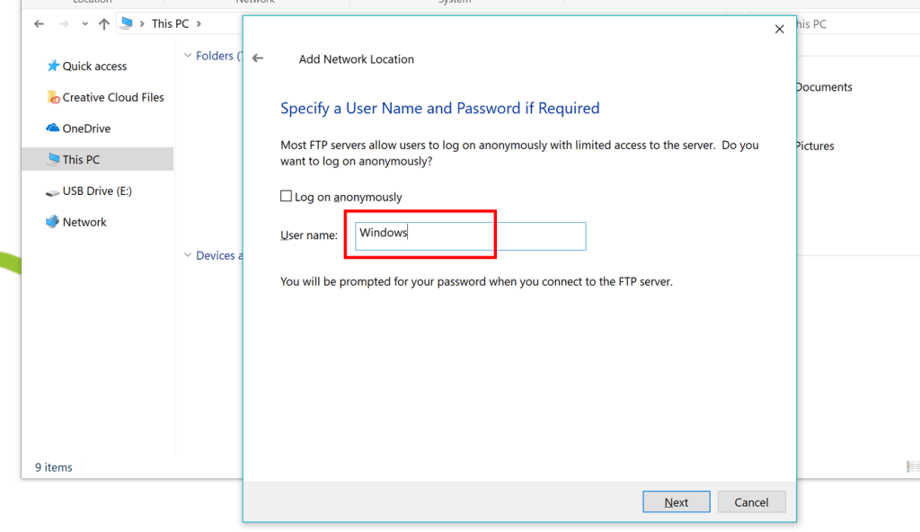 Add Network Location Windows 10/8/7   Hosted~FTP~ Help
