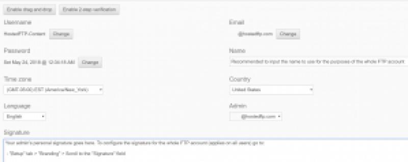 basic setup tab settings for the administrator account