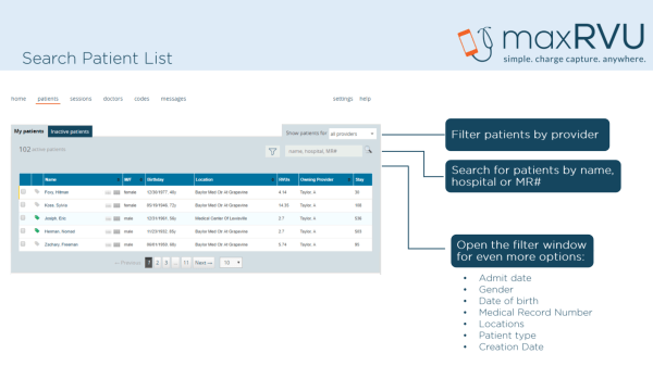 find patients, search patients, filter, sort