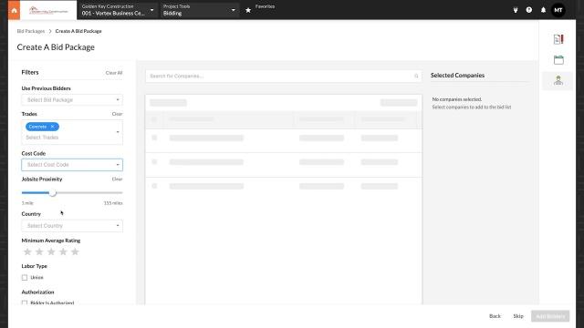 screenshot of procore's tender management construction technology