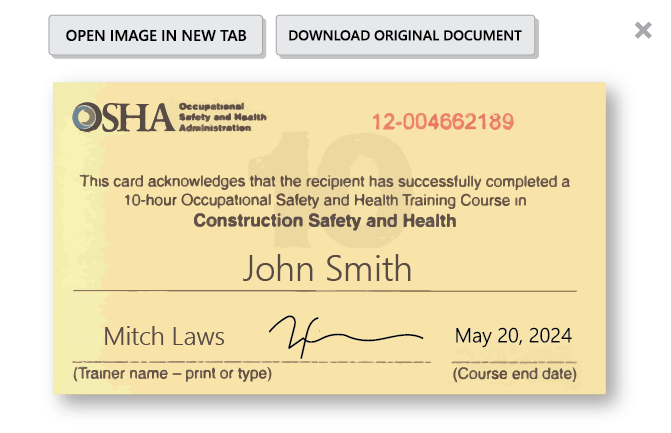 proof of certification